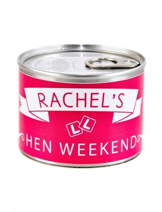 x1 Personalised Hen Party Favour Kit, Funky Pull Can with Treats