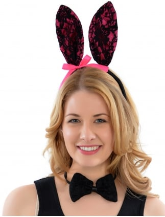 Fancy Dress Hen Night Pink Lace Bunny Girl Kit