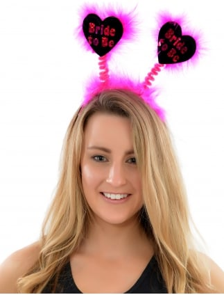 Bride To Be Hen Party Head Boppers Black Heart Shaped