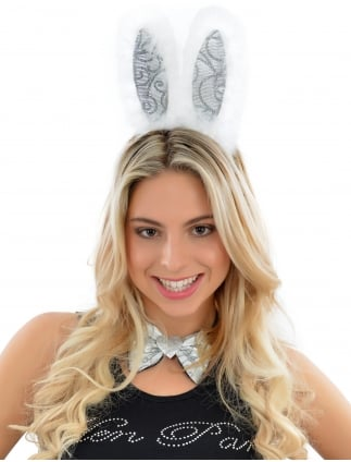 Hen Party Silver Sparkling Fancy Dress Bunny Girl Set