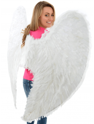 Extra Large Fancy Dress White Feather Angel Wings