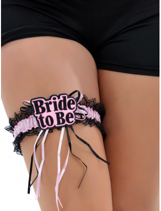 Bride To Be Lace Garter Pink & Black