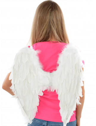 White Feather Fancy Dress Wings / Hen Party Angel Wings