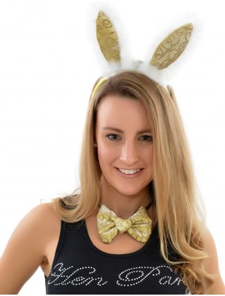 Hen Party Gold Sparkling Fancy Dress Bunny Girl Set