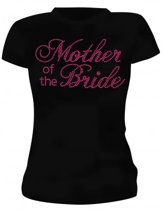Hen Party T-Shirts Mother of the Bride Pink Diamante Hen Night T-Shirts