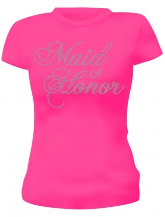 Maid of Honor Hen Party Diamante T-Shirts- Hen Night T-shirts