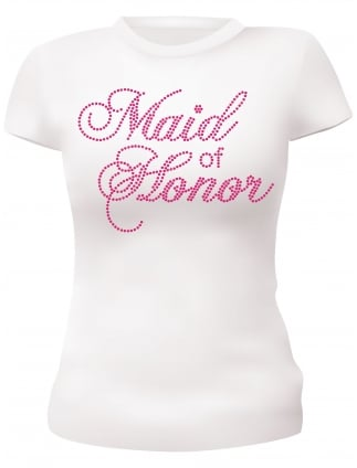 Maid of Honor Pink Diamante Hen Party T-Shirts Hen Night T-Shirts