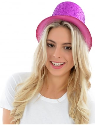 Glitter Top Hat Pink