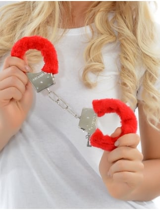 Hen Night Party Red Fluffy Handcuffs