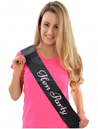 Hen Party Sash Black With Pink Writing