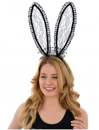Lace Bunny Ears Black