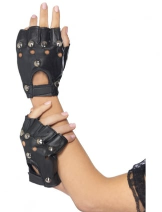 Fancy Dress Convict/Punk Studded Gloves