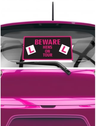 Beware hen party rear window car sticker
