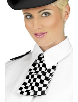 Policewoman Chequered Neck Tie Set