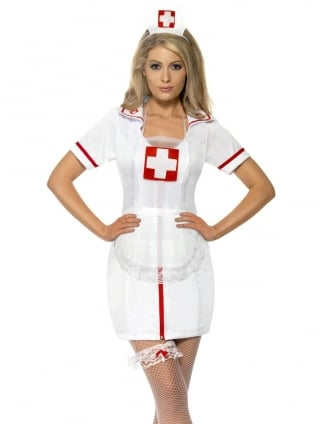 Nurse's White and Red Costume Set
