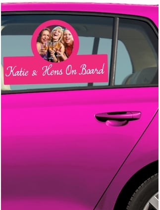 Hens On Board Car Window Sticker (Your Photo)