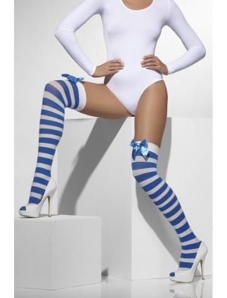 Opaque Hold-Ups Blue White Striped