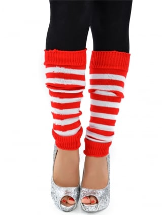 Striped Leg Warmers Red/White