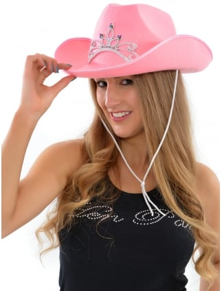 Pink Cowgirl Hat with Silver Tiara 04f73b303216