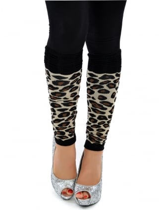 Fancy Dress Legwarmers Leopard Print/ Cave Girl
