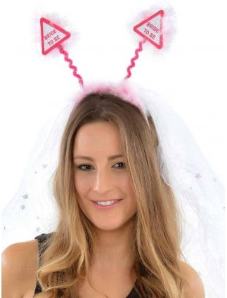 Pink Bride To Be Boppers With Attached Veil