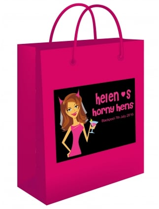 Personalised Horny Hens Gift Bag With Sticker To Apply