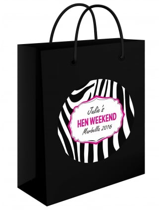 Zebra Print Personalised Hen Party Gift Bag