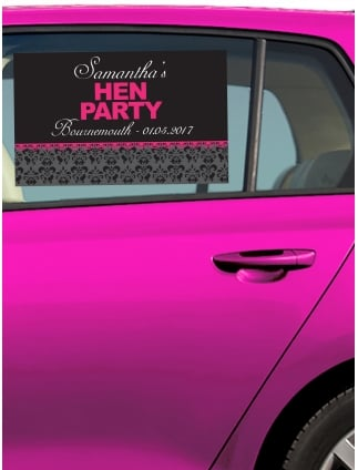 Pretty Damask Personalised Hen Party Car Window Sticker