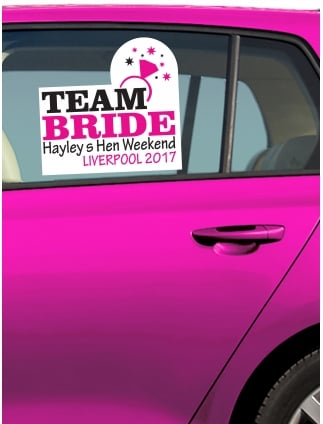Team Bride Ring Personalised Hen Party Car Window Sticker