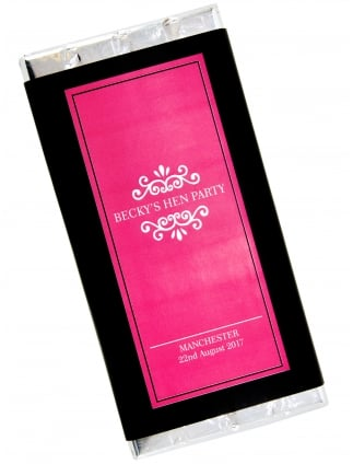 Classy Black & Pink Hen Party Personalised Chocolate Bar