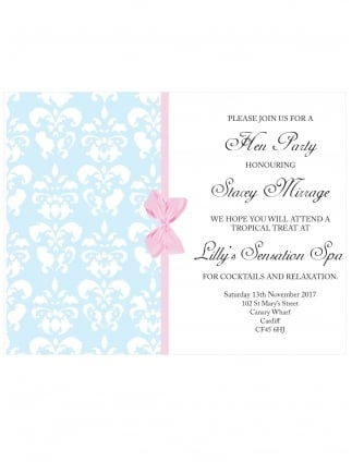 Hen Party Invitation PDF Damask and Bow