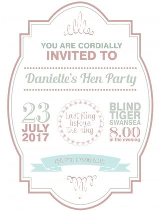 Hen Party Invitation PDF Pink and Blue Style