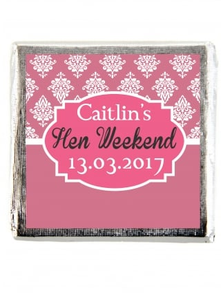 X10 White Damask Hen Party Personalised Chocolate Favours