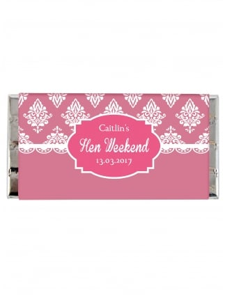 White Damask Hen Party Personalised Chocolate Bar