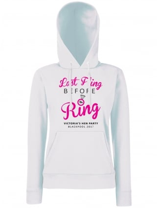 Last Fling Hen Party Personalised Hoodie