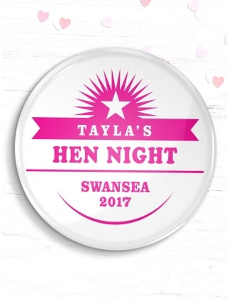 Personalised Hen Party Star Badge