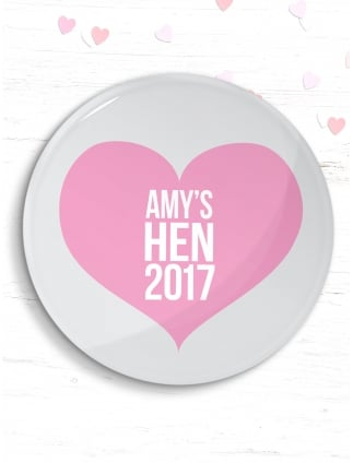 Personalised Hen Party Heart Badge