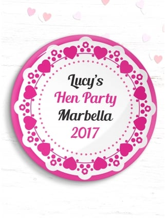 Personalised Hen Party Lace Design Badge