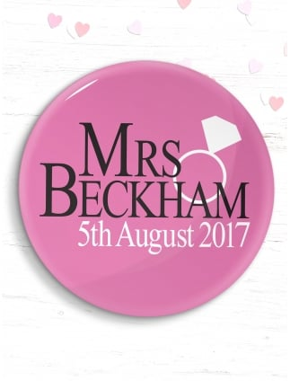 Personalised Hen Party Mrs Beckham Badge