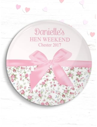 Personalised Pink Bow Hen Party Badge