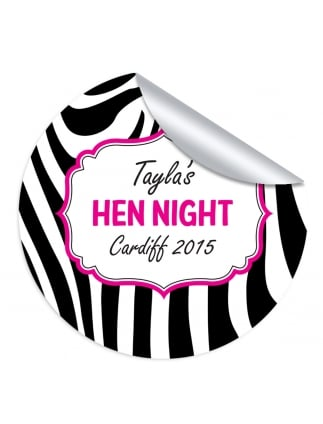 Zebra Hen Party Personalised Stickers (Pack of 10)