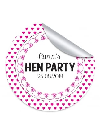 Hearts border personalised hen party stickers pack of 10