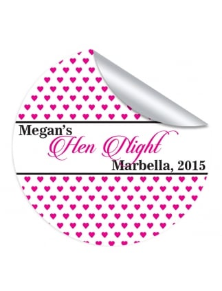Small Hearts Hen Night Personalised Stickers (Pack of 10)