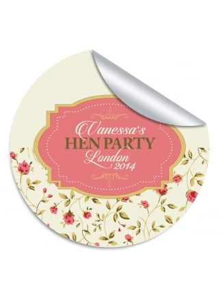 Vintage Half Floral Hen Party Stickers (Pack of 10)