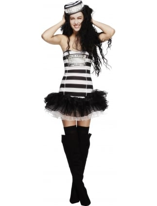 Convict Black and White Striped Costume
