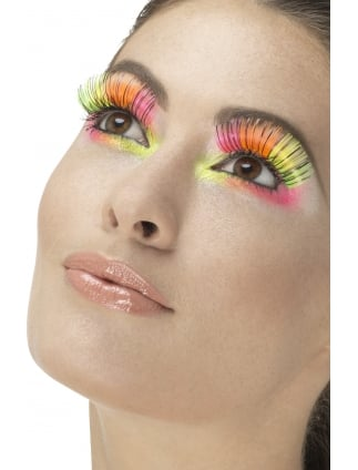Party Eyelashes Neon Multi-Coloured contains Glue