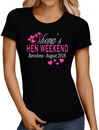 Pink Hearts Hen Party T-shirt