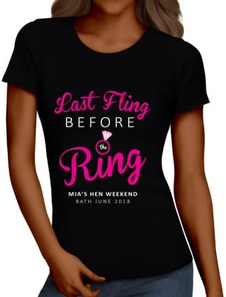 Last Fling Before The Ring Hen Party T-Shirts Hen Night T-Shirts