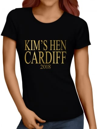 Metallic Print Personalised Hen Party T-Shirts