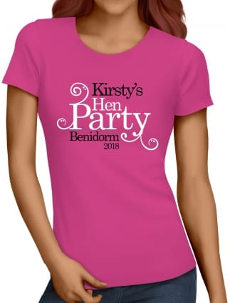 Swirly Style Personalised Hen Party T-Shirts